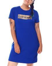 Dresses - S/S Mini Screen Print Dress ( Plus)-2673902