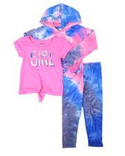 Girls - 3 Pc Tie-dye Hoodie, Girl Power Tee & Tie-dye Leggings Set (4-6X)-2674799
