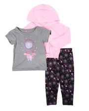 Girls - 3 Pc Dream Chaser Pullover Hooded Top, Dream Catcher Tee & Leggings Set (4-6X)-2674795