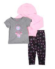 Girls - 3 Pc Dream Chaser Pullover Hooded Top, Dream Catcher Tee & Leggings Set (2T-4T)-2674790