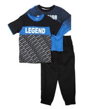 Arcade Styles - 3 Pc Gradient Graphic Long Sleeve Tee, Graphic Tee & Jogger Pants Set (4-7)-2674521