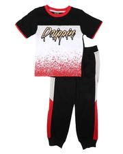 Arcade Styles - 2 Pc Drippin Color Block Tee & Jogger Pants Set (8-18)-2674538