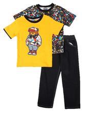 Arcade Styles - 3 Pc Paint Splatter Tee, Graphic Tee & Jeans Set (4-7)-2673814