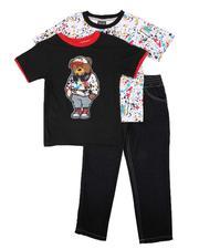 Arcade Styles - 3 Pc Paint Splatter Tee, Graphic Tee & Jeans Set (4-7)-2673844
