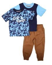 Arcade Styles - 3 Pc Tie Dye Tee, Graphic Tee & Jogger Pants Set (4-7)-2673856