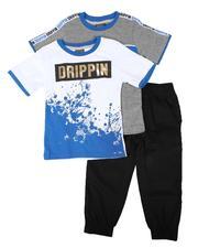 Arcade Styles - 3 Pc Drippin Graphic Tee, Stripe Tee & Jogger Pants Set (4-7)-2673865