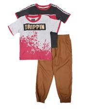 Arcade Styles - 3 Pc Drippin Graphic Tee, Stripe Tee & Jogger Pants Set (4-7)-2673870