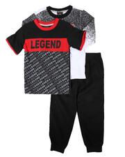 Arcade Styles - 3 Pc Gradient Graphic Long Sleeve Tee, Graphic Tee & Jogger Pants Set (4-7)-2674517