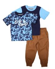 Sets - 3 Pc Tie Dye Tee, Graphic Tee & Jogger Pants Set (2T-4T)-2674782