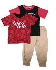 Sets - 3 Pc Tie Dye Tee, Graphic Tee & Jogger Pants Set (2T-4T)-2674786