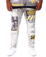SMOKE RISE - Distressed & Patched Paint Splatter Jeans (B&T)-2676536