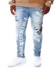 SMOKE RISE - Distressed & Patched Denim Jeans (B&T)-2676543