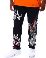 SMOKE RISE - Cut & Sew Rhinestone Detail Denim Jeans (B&T)-2676375