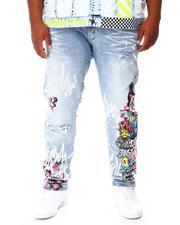 Jeans - Cut & Sew Rhinestone Detail Denim Jeans (B&T)-2676382