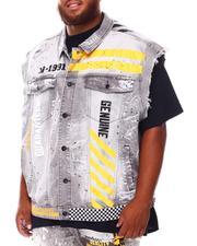 SMOKE RISE - Paint Splatter Graphic Denim Vest (B&T)-2676403