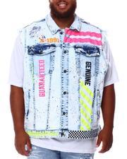 SMOKE RISE - Paint Splatter Graphic Denim Vest (B&T)-2676407