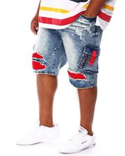 Men - Cargo Shredded Denim Jean Shorts (B&T)-2676718