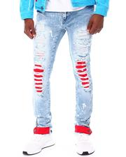 Frost Originals - color Backed SHREDDED JEANS W/ CORD LAYER-2677822
