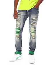 Frost Originals - color Backed SHREDDED JEANS W/ CORD LAYER-2677751