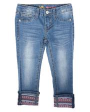 Girls - Embroidered Cuff Ankle Crop Jeans (4-6X)-2676872