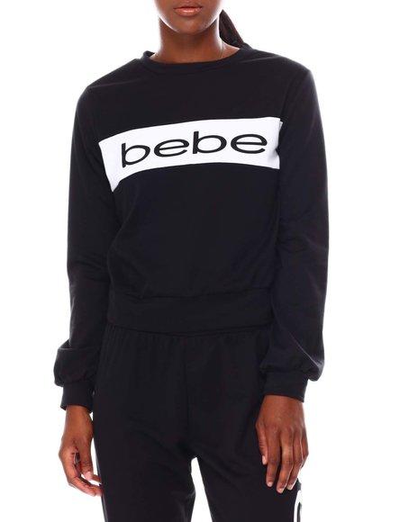 Fashion Lab - Long Sleeve Bebe Print  Front Sweatshirt