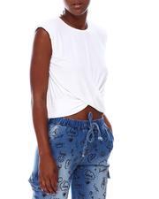Fashion Tops - Drape Knot Shoulder Pad Top-2673038