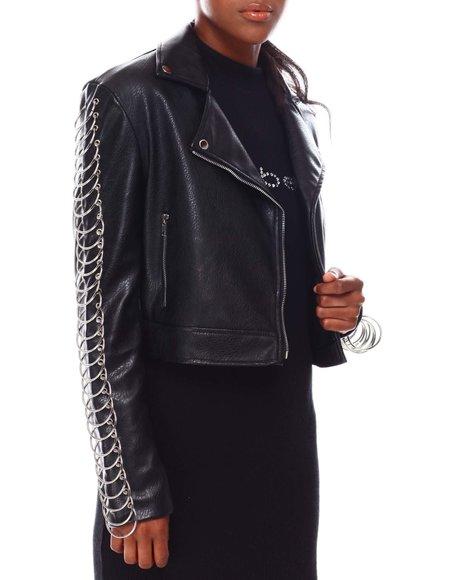 Fashion Lab - Faux Leather Biker Jacket W/Ring Sleeve