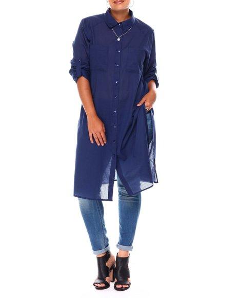 Fashion Lab - Roll Cuff 2 Pock Slit Side Button Down Maxi Tunic W/Yoke Detail  (Plus)