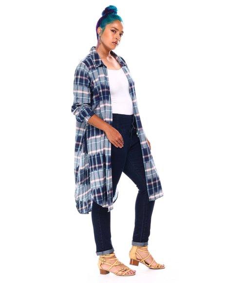 Fashion Lab - L/S Roll Cuff Slit Side Plaid Duster
