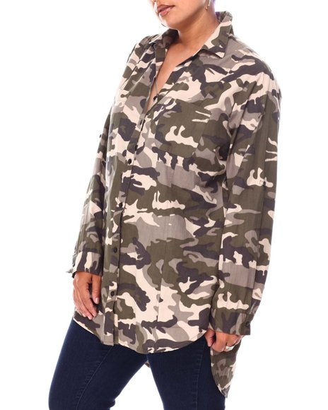 Fashion Lab - Roll Cuff Sleeve Y-Neck 2 Pocket Shirt Tail Exaggerated High Low Hem Tunic ( Plus)