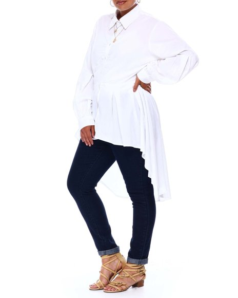 Fashion Lab - L/S Pleated Balloon Slv  Detail Shirred Front Drama Tunic Pearl Buttons ( Plus )