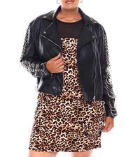 Fashion Lab - Faux Leather Biker Jacket W/Ring Sleeve (Plus)-2679438