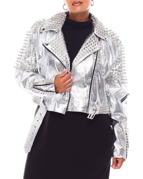 Fashion Lab - Studded Biker Jacket (Plus)