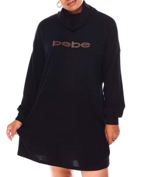 Bebe - Long Sleeve High Neck Dress (Plus)