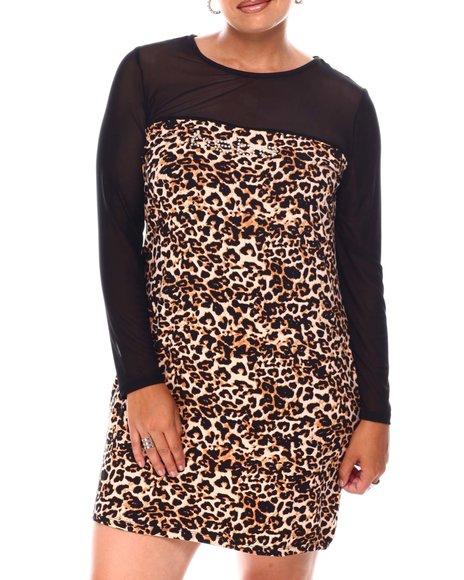 Bebe - Long Mesh Sleeve Leopard Print Dress ( Plus)