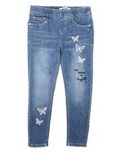 Bottoms - Pull-On Denim Jeggings W/ Butterfly Embroidery (4-6X)-2681105