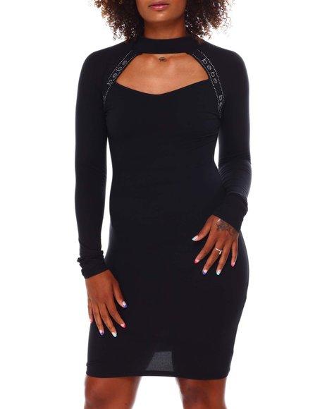 Bebe - Mesh Front long Sleeve Mini Dress