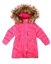 Girls - Faux Fur Trim Med Length Puffer Jacket (4-6X)-2681277