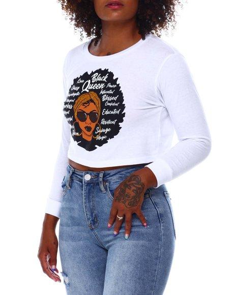 Fashion Lab - Crop Black Queen L/S  T-Shirt