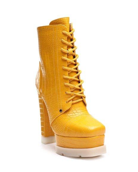 Azalea Wang - Chunky Platform Heeled Lace Up Boots