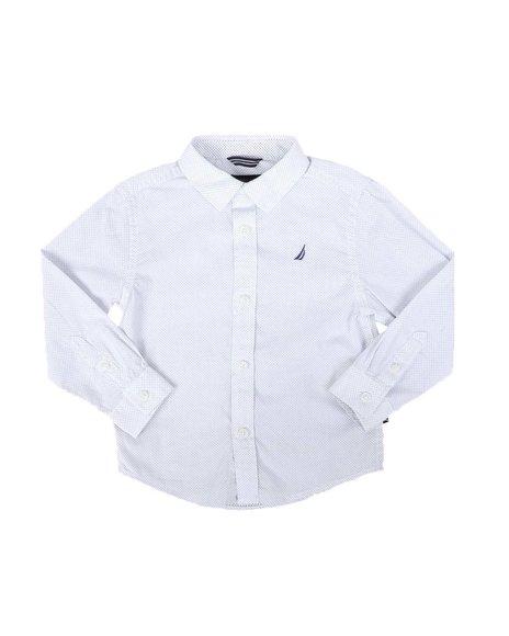 Nautica - Shadow Print Long Sleeve Button Down Shirt (2T-4T)