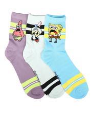 DRJ SOCK SHOP - 3Pk SpongeBob Quarter Socks-2684107