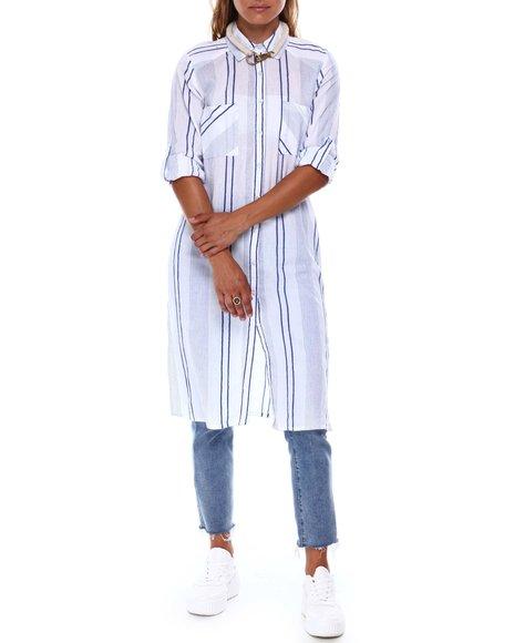 Fashion Lab - 2 Pocket Button Down Roll Cuff Tunic Slit Side