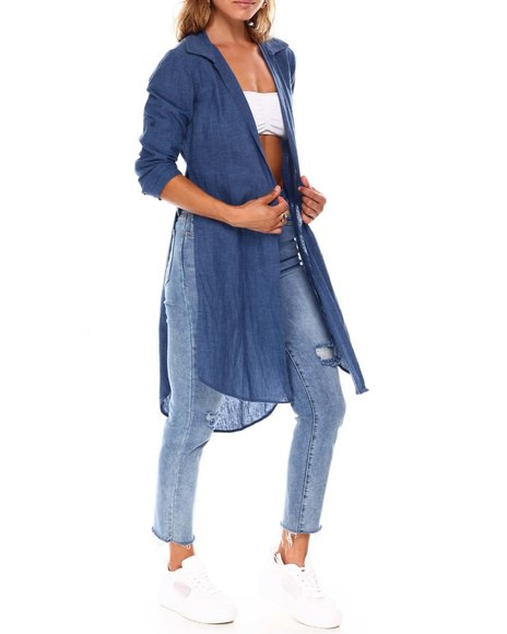 Fashion Lab - L/S Roll Cuff Slit Side Denim Duster