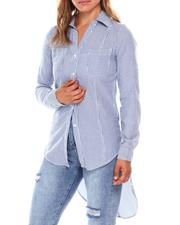 Tops - Roll Cuff Sleeve Y Neck 2 Pocket  Shirt Tail Exaggerated High Low Hem Tunic-2679549