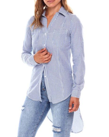 Fashion Lab - Roll Cuff Sleeve Y Neck 2 Pocket  Shirt Tail Exaggerated High Low Hem Tunic