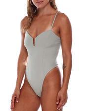 Bodysuits - Front Neck Square Bar Trim Seamed Cami Bodysuit-2684699