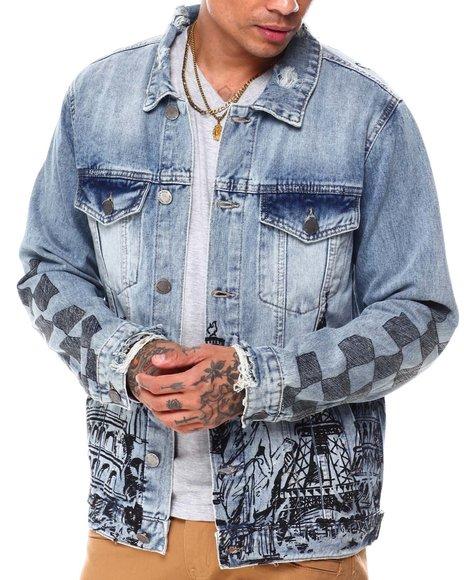 Buyers Picks - World Tour Checkerboard Sleeve denim Jacket