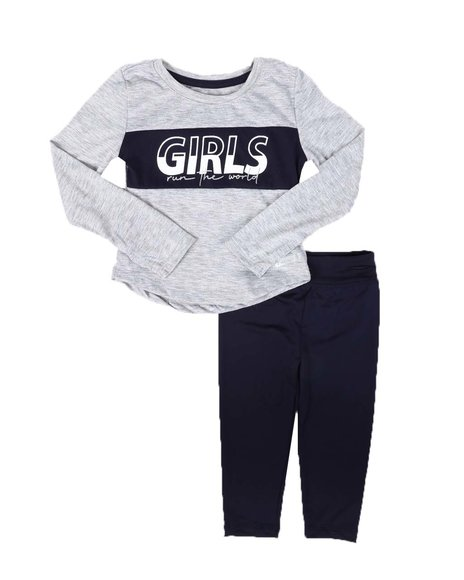 HIND - 2 Pc Long Sleeve Poly Jersey Top & Leggings Set (2T-4T)