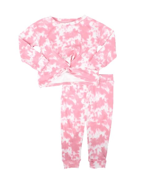 La Galleria - 2 Pc Twist Front Top & Jogger Pants Knit Set (2T-4T)